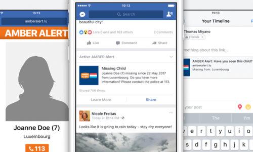 Facebook S'associe à AMBER Alert Luxembourg Pour Les Enlèvements D'enfants